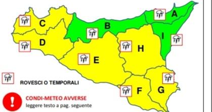 Meteo, allerta gialla fino a mezzanotte in provincia di Trapani