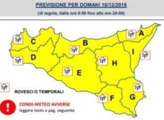 Meteo, allerta giallo in Sicilia. Da stasera previste raffiche di vento