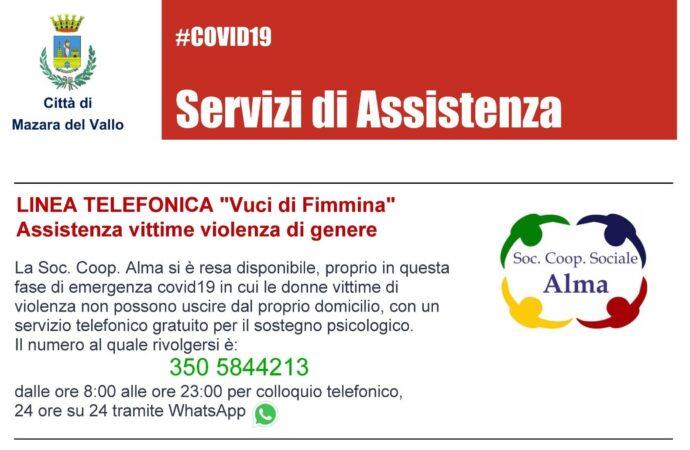 """Linea telefonica a Mazara """"Vuci di Fimmina"""", assistenza vittime violenza di genere"""