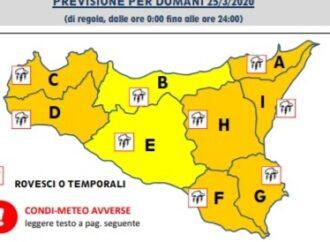 Meteo, allerta meteo arancione in provincia di Trapani