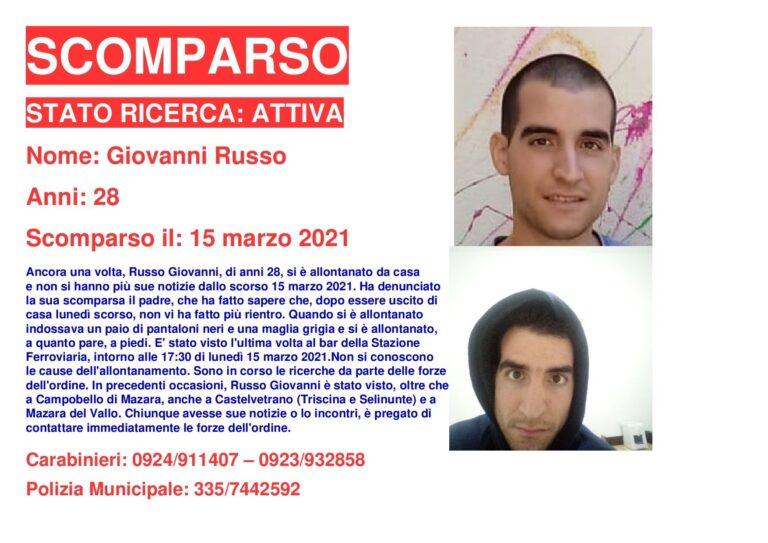 Campobello, si cerca il 28enne Giovanni Russo