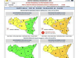 Avviso di rischio meteo idrogeologico-idraulico per le prossime 24 ore. Per il territorio di Mazara del Vallo il livello di allerta meteo è Giallo (livello attenzione)
